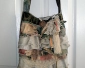 Gypsy Bag, large Shabby Chic bag, soft thick green fabric, cream ruffles and doilies