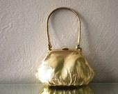 Vintage Tiny Leather Gold Handbag