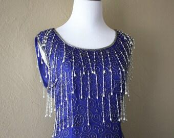 VIntage Beaded Cobalt Blue Silk Wriggle Gown
