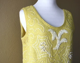 Vintage Beaded Yellow Knit Sweater Shell