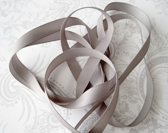 Gray Grosgrain Ribbon 3/8 -- 3 yards -- Silver -- Grey -- 9.5mm