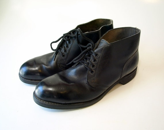 vintage black leather steel toe biltrite chukka boots mens
