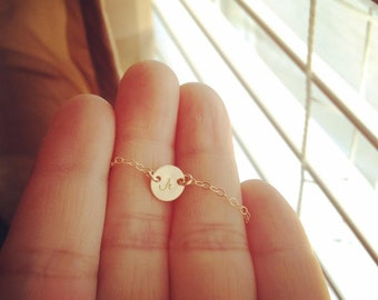Personalized 14K Gold Filled Link Tiny Initial Necklace - Initial Necklace - Handmade by CoCo - Everyday Wear