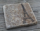 Set of 4 Eiffel Tower Tumbled Marble Coasters