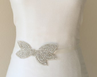 Wedding sash, bridal sash clear crystal beaded sash, jewel belts, bridesmaid sash