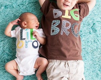 Little Brother Shirt Big BRO shirt  set gift baby shower photo prop Patches and Puppies