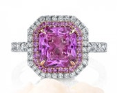 Beautiful 3.20 Carat Radiant Cut Pink Sapphire Halo Engagement Ring on 14K Gold