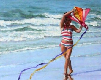 """Original Oil Painting: young girl with kite at the beach """"Kite Moves"""""""