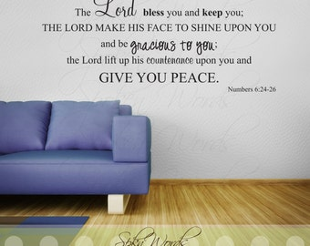 Numbers 6:24 Bible Verse Vinyl Wall Decal.......The Lord bless you and keep you........Your choice of color