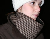 Warm Cowl Scarf, Neckwarmer ~ Unisex ~ Dark Brown and Tan  Small Houndstooth