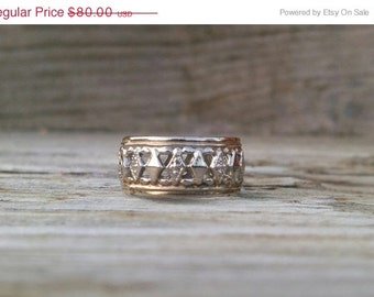 SALE Diamond Cut Wedding Band Pierced Sterling and Gold