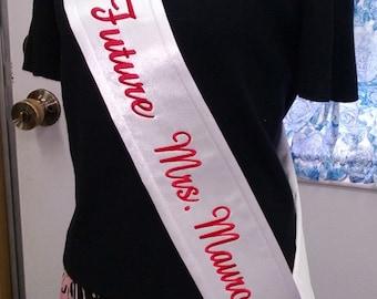 Personalized Bridal Sash Satin Banner Bridal Shower Party Favor