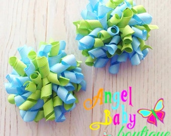 Pig Tail Hair Bows - Korker Set - Blue and Green