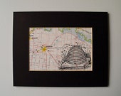 "Honey Bee HIve Print Mounted Map Art - Map of the Rutherglen Region in Victoria, Australia - 8 x 10"""