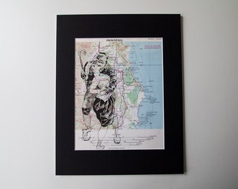 Vintage Mounted Art Print - Kissing Couple on Vintage Map of Innisfail in Queensland, 11 x 14""