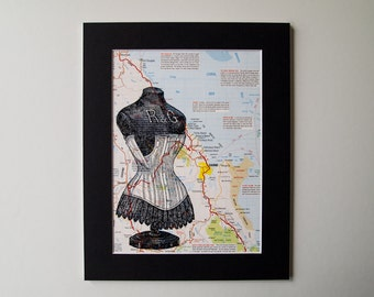 "Vintage Map Art - Dressmakers Mannequin Mounted 8 x 10"" Print on Cairns, Australia Map"