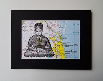 School Mistress Print, Mounted on a Vintage Map of Surfers Paradise, Australia, 6 x 8""