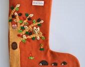 felt christmas stocking - 'into the woods'