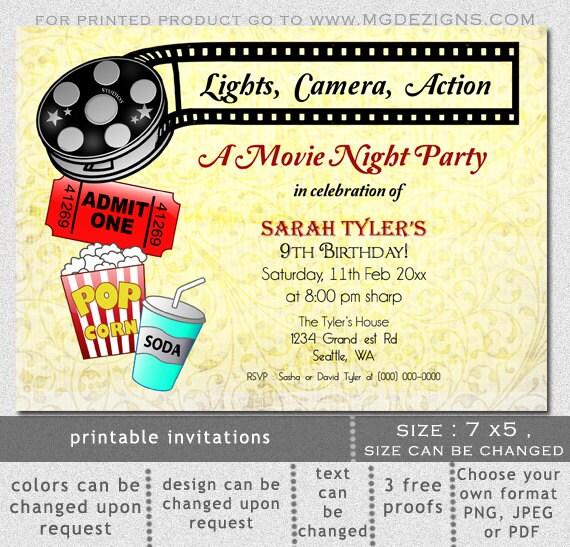 Items Similar To Printable Movie Night Birthday Party