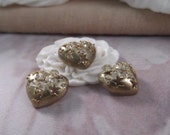 3pc. Small Heart w/Rhinestones Charms --- Brass-Zircon Color --- CHM - 139