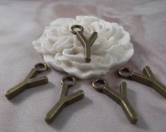 """5 Letter """"Y"""" Antique Bronze Charms --- Antique Bronze Color"""