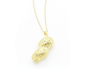 1 - REAL Peanut Pendant Necklace 24k GOLD Plated Real Pea Nut Charm on 24K Gold Plated Brass Chain (AN025)