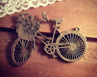 Bicycle Charm Connectors, Bike Charm, Riding, Mountain Bike, Outdoors, Vintage Style Pendant Charm Jewelry Supplies (BB174)