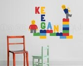 Brickman Wall Decal, Brickman Custom Name Wall Decal for Nursery, Kids or Childrens Room 067
