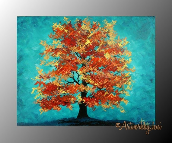 Items similar to fall art autumn tree painting acrylic on for Fall paintings easy