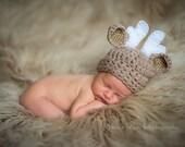 newborn boy hat, deer hat, newborn deer hat, baby boy hat, crochet deer hat, baby deer hat