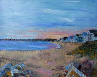Connecticut Beach Landscape Oil Painting / 16 X 20 / Original Oil Seascape