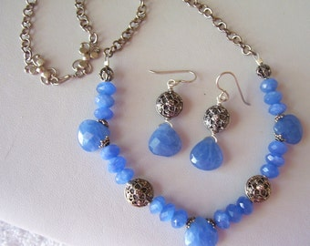 Vintage Inspired Blue Agate and Hand Made Sterling Silver Necklace and Earring Set