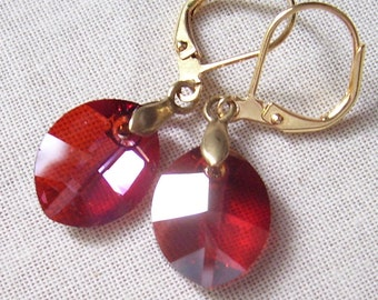 Red Crystal Leaf Earrings with Brass Bails and Gold Plated Brass Leverbacks