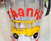 Gift Idea for School Bus Driver. Thanks For The Rides....Tumbler Cup for Bus Drivers. Free personalization.