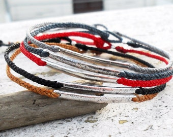 Mens bracelet friendship bracelet, red string bracelet - nylon cord with metal link bead bar