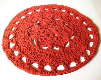 Crocheted, Round Rug - MANDALA RUG - cayenne, rust, orange