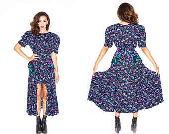 Vintage 80's Floral Party Maxi Dress Peplum Maxi Puff Sleeve // Upcycled Hi Lo