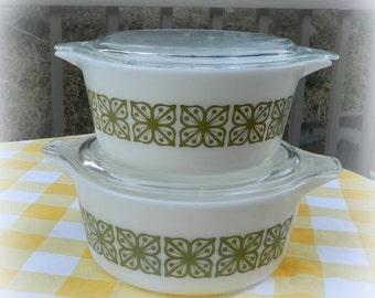 Pyrex Square Flowers Verde Cinderella Casserole 2 with lids vintage