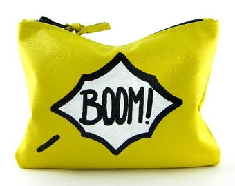 Comic Mini Leather Statement Clutch | Yellow Clutch | Boom Clutch | Makeup Bag | Coin Purse | Cowhide Leather | Handmade