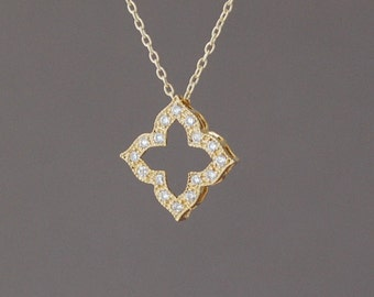 Gold Diamond Shaped Pendant with CZ Necklace