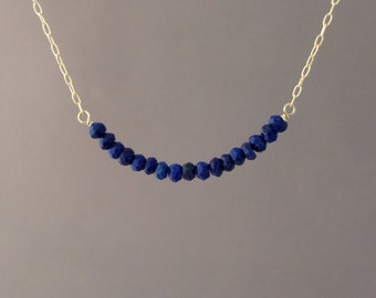 Blue Lapis Beaded Necklace Gold, Rose Gold, or Silver
