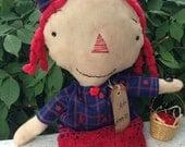 School Time Annie~ Handmade Raggedy Ann-Prim Doll- Primitive- Prim