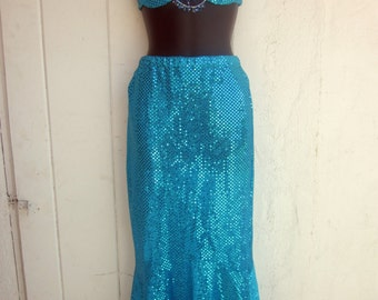 Vintage Aqua Sequin Mermaid Costume. Bikini Top with Long Fishtail Skirt. Bead Accents. Mermaid, Ariel, Splash, Lady Gaga Costume