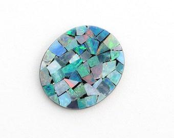 Australian Opal Mosaic Oval Shape, 1 Stone, 14x16mm Oval, Genuine Opal with black Onyx back