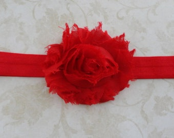Baby Headband - Red Shabby Frayed Chiffon Flower Headband - Summer Headband  - Girls Headband