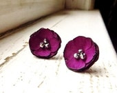 Radiant orchid fabric Flower Stud Earrings, Satin Flower Earring Posts, Purple Fuchsia Earrings, Floral Earring, Pantone Spring Jewelry - InspiredGreetingsAD