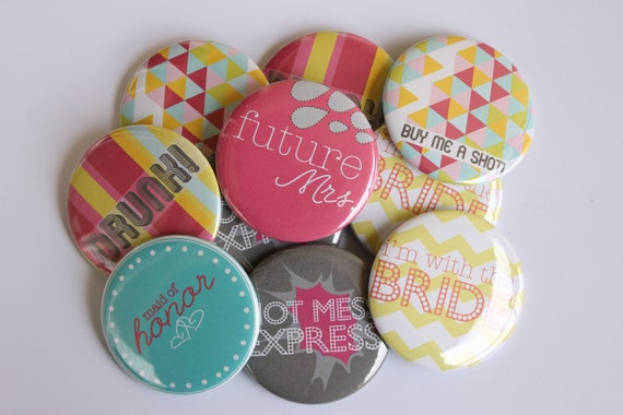 Set of 10 Fun Quirky Bachelorette Party Buttons