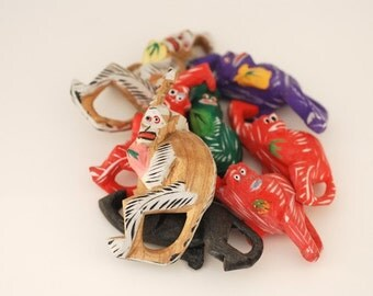 Lot of Vintage Wooden Polynesian Monkeys,  Handmade Children's Toy, Wooden Vintage Monkey,