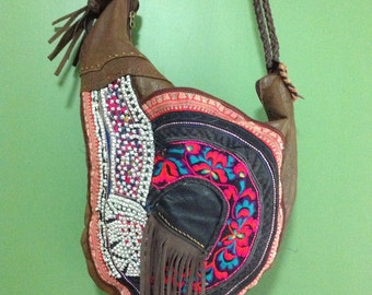 Recycled Leather and Antique Asian Textile Bag