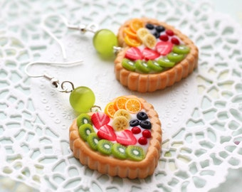 Fruit Pie Heart Earrings - sweet jewelry